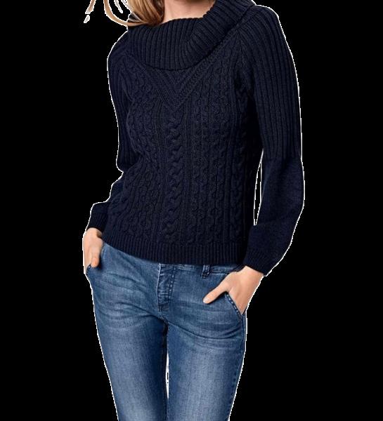 Designer-Grobstrickpullover, marine